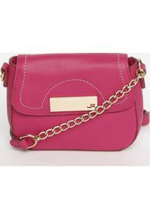 Bolsa Em Couro Com Pespontos - Pink & Dourada - 13X1Jorge Bischoff