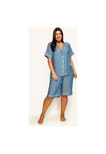 Pijama Curto Almaria Plus Size Garage Viés Contrastante Azul