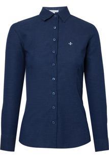 Camisa Ml Jeans Maquinetado (Jeans Escuro, 48)