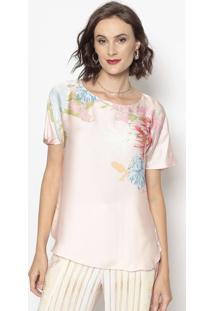 Blusa Acetinada Floral- Rosa Claro & Verde- Cotton Ccotton Colors Extra