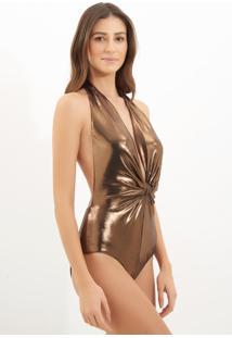 Body Le Lis Blanc Bruna Malha Dourado Feminino (Dourado, M)
