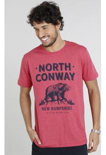 Camiseta Masculina Com Estampa De Urso Manga Curta Gola Careca Vermelha