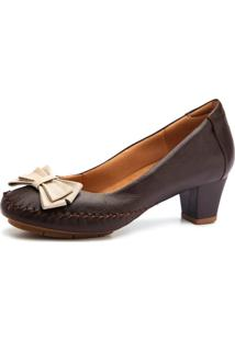 Sapato Couro Doctor Shoes 788 Pespontos Café