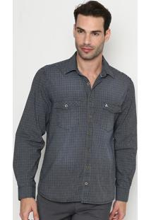 Camisa Slim Fit Geomã©Trica - Azul Escuro & Branca - Vip Reserva