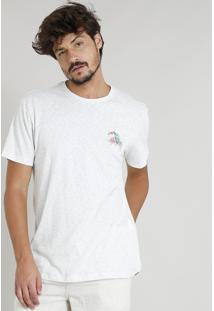 Camiseta Masculina Com Estampa De Tucano Manga Curta Gola Careca Cinza Mescla Claro