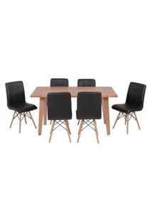 Conjunto Mesa De Jantar Em Madeira 150X80 Vértice + 6 Cadeiras Gomos - Preto