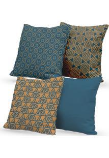Kit 4 Capas De Almofadas Decorativas Own Geométricas Azul E Caramelo 45X45 - Somente Capa