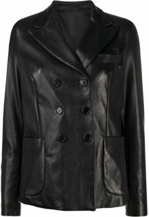Salvatore Santoro Double-Breasted Leather Jacket - Preto