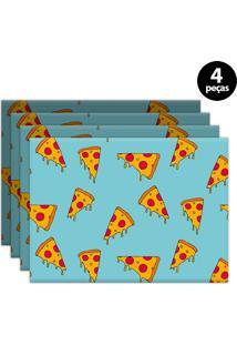 Kit 4Pçs Jogo Americano Mdecor Pizza 40X28Cm Azul