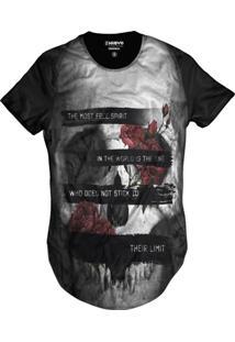 Camiseta Di Nuevo Swag Crânio Floral Rock Caveira Mexicana Preta