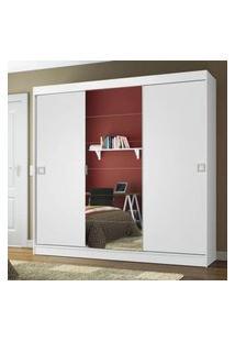 Guarda-Roupa Casal Madesa Veneza 3 Portas De Correr Central Com Espelho Branco
