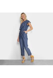 d93920ef7 ... Macacão Mob Longo Jeans Ombro Único Feminino - Feminino-Azul