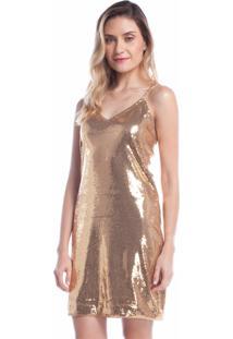 Vestido Para Noite Ralm Tricot Alças Corrente Dourado