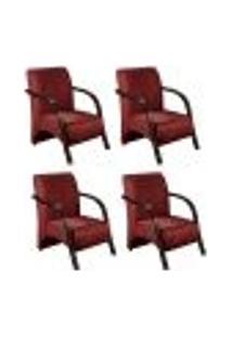 Conjunto De 4 Poltronas Sevilha Decorativa Braço De Madeira Cadeira Para Recepção, Sala Estar Tv Espera, Escritório, Vários Ambientes - Suede Bordô