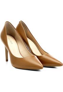 Scarpin Couro Shoestock Salto Alto - Feminino-Caramelo