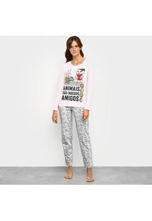 Pijama Evanilda Turma Da Mônica Longo Feminino - Feminino-Rosa