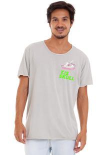 Camiseta Estonada Corte À Fio Estampada Joss Caixão Skull Cinza
