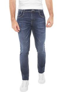 Calça Jeans Sawary Slim Efeito Bigode Azul