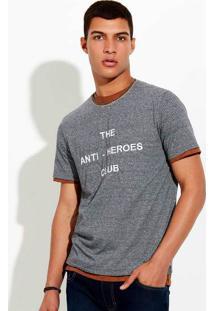 Camiseta Masculina Básica Listrada Em Fio Tinto De Algodão