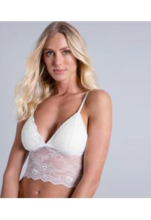 Top Underwear Em Renda Branco Off White - Lez A Lez