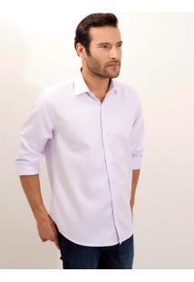 Camisa Dudalina Manga Longa Fio Tinto Maquinetado Masculina (Roxo Claro, 39)