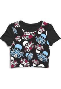 Blusa Feminina Cropped Tshirt Goup Girls Caveira Com Rosas Flores - Feminino