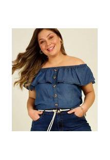 Blusa Plus Size Feminina Ciganinha Jeans Babado