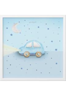 Quadro Carrinho, Lua E Estrelas Azul 38Cm Azul