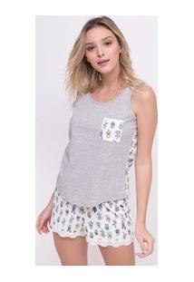 Pijama Com Bolsinho E Estampado Cactus