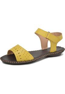 Sandalia Miuzzi Rasteira Ref: 2196 Amarelo - Tricae