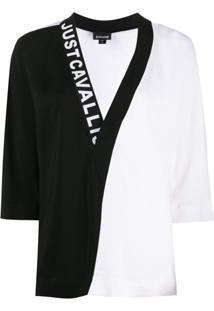 Just Cavalli Blusa Bicolor Com Logo - Branco
