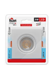 Luminária Spot Kian Mr11 Quadrado Led Fênix Ii Alt: 4,3Cm Comp.: 7,5Cm Larg: 7,5Cm 3W 6000K Branca.