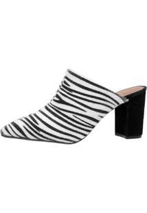Scarpin Mule Di Scarp Calçados Animal Print Salto Médio (7,5 Cm) - Pelo Zebra - Tricae