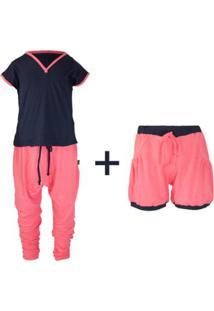 Pijama Trinne Gumii (Três Peças) Feminino - Feminino-Rosa+Marinho