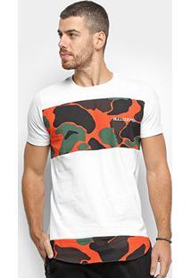 Camiseta Bulldog Fish Camuflada Masculina - Masculino-Branco