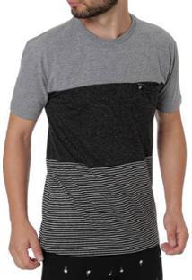 Camiseta Occy Manga Curta Masculina - Masculino-Cinza+Preto