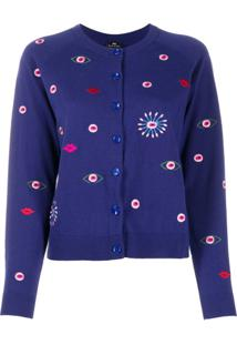 Ps Paul Smith Cardigan Slim Com Bordado - Azul