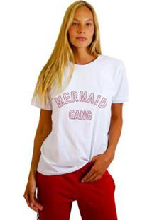 Camiseta Joss Estampada Mermaid Gang Feminina - Feminino-Branco
