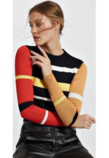 Blusa De Tricot Canelado Listras Color Preto - M