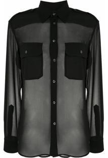 Polo Ralph Lauren Blusa Translúcida Com Bolso No Busto - Preto