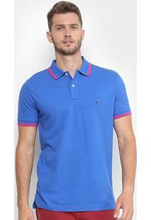 Camisa Polo Tommy Hilfiger Básica Friso Masculina - Masculino-Azul+Rosa
