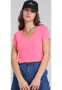 Blusa Feminina Manga Curta Decote V Rosa Neon