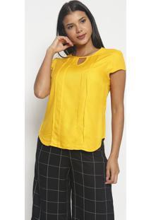 Blusa Texturizada Com Pregas-Amarela-Vip Reservavip Reserva
