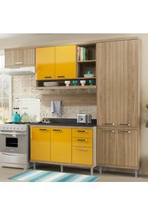 Cozinha Compacta 9 Portas Sicília Com Tampo 5839 Amarelo/Argila - Multimóveis