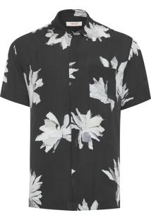 Camisa Masculina Flower Torn - Preto