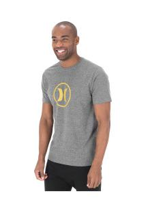 Camiseta Hurley Silk Circle Icon - Masculina - Cinza Escuro
