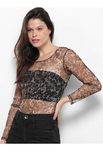 Body My Favorite Thing (S) Tule Animal Print Manga Longa - Feminino-Estampado
