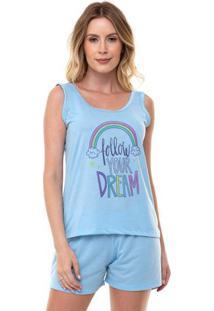 Pijama Short Doll Regata Arco-Íris Feminino Luna Cuore