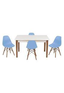 Conjunto Mesa De Jantar Luiza 135Cm Branca Com 4 Cadeiras Eames Eiffel - Azul Claro