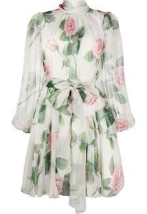 Dolce & Gabbana Vestido Branco De Chiffon Com Estampa De Rosas